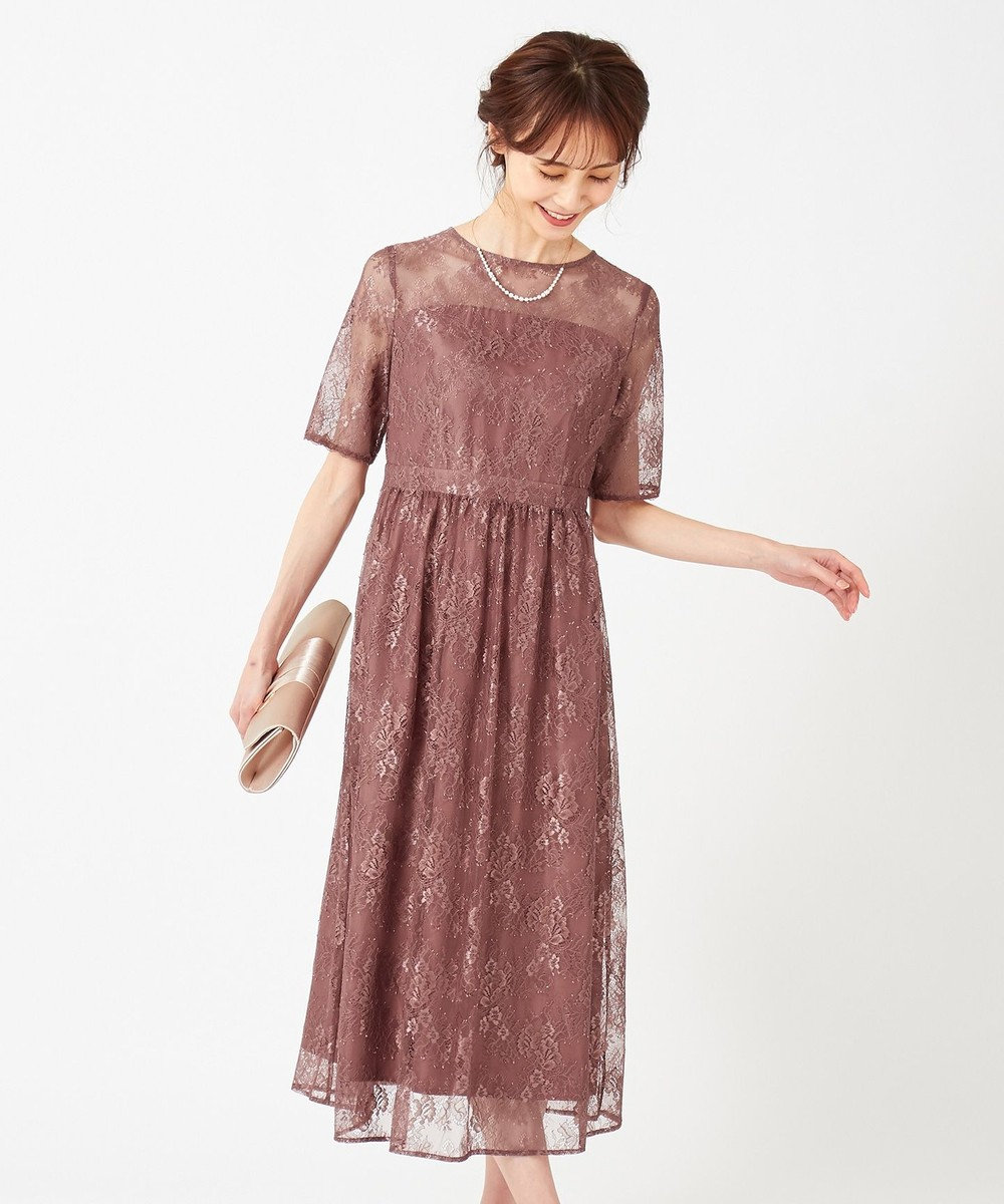 any SiS 【洗える】エアリーチュールレース ドレス モカブラウン