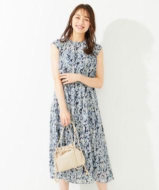 any SiS 【洗える】フルールプリント ワンピース ブルーフラワー