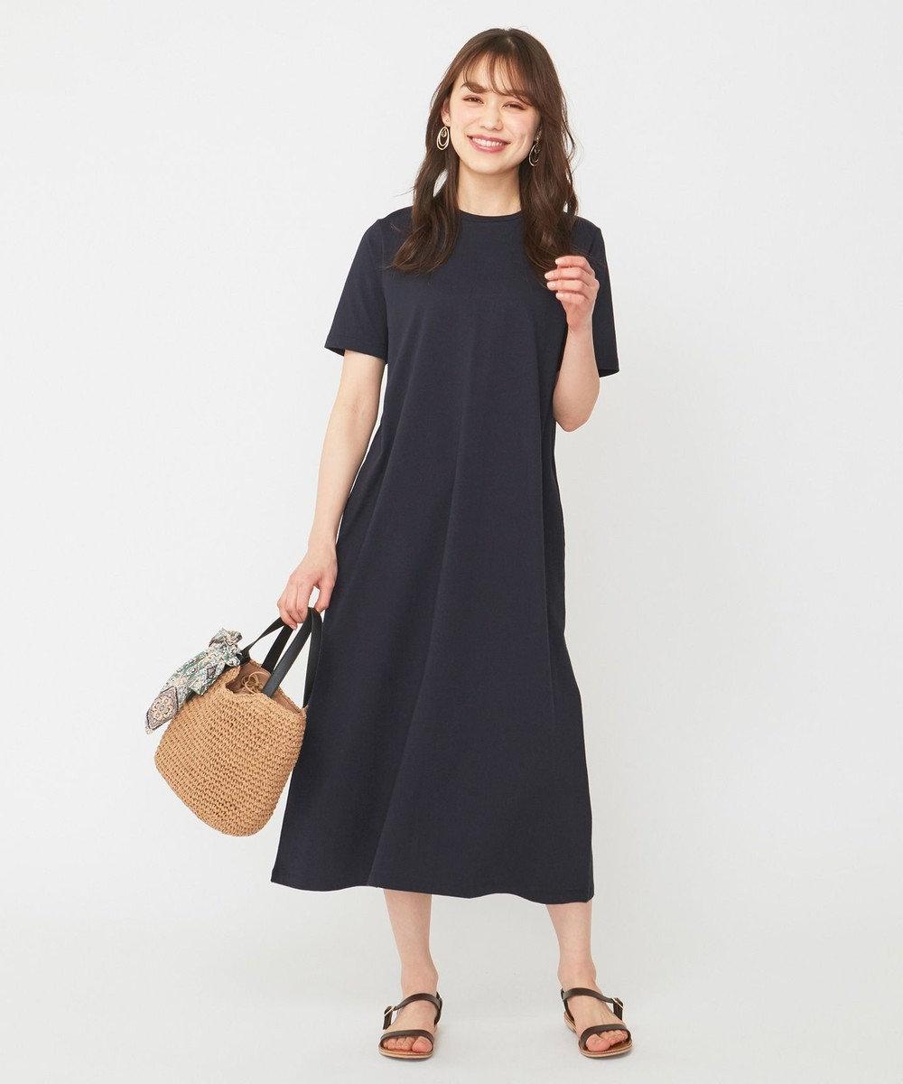any SiS S 【おうち時間に】Aラインジャージー ワンピース ネイビー