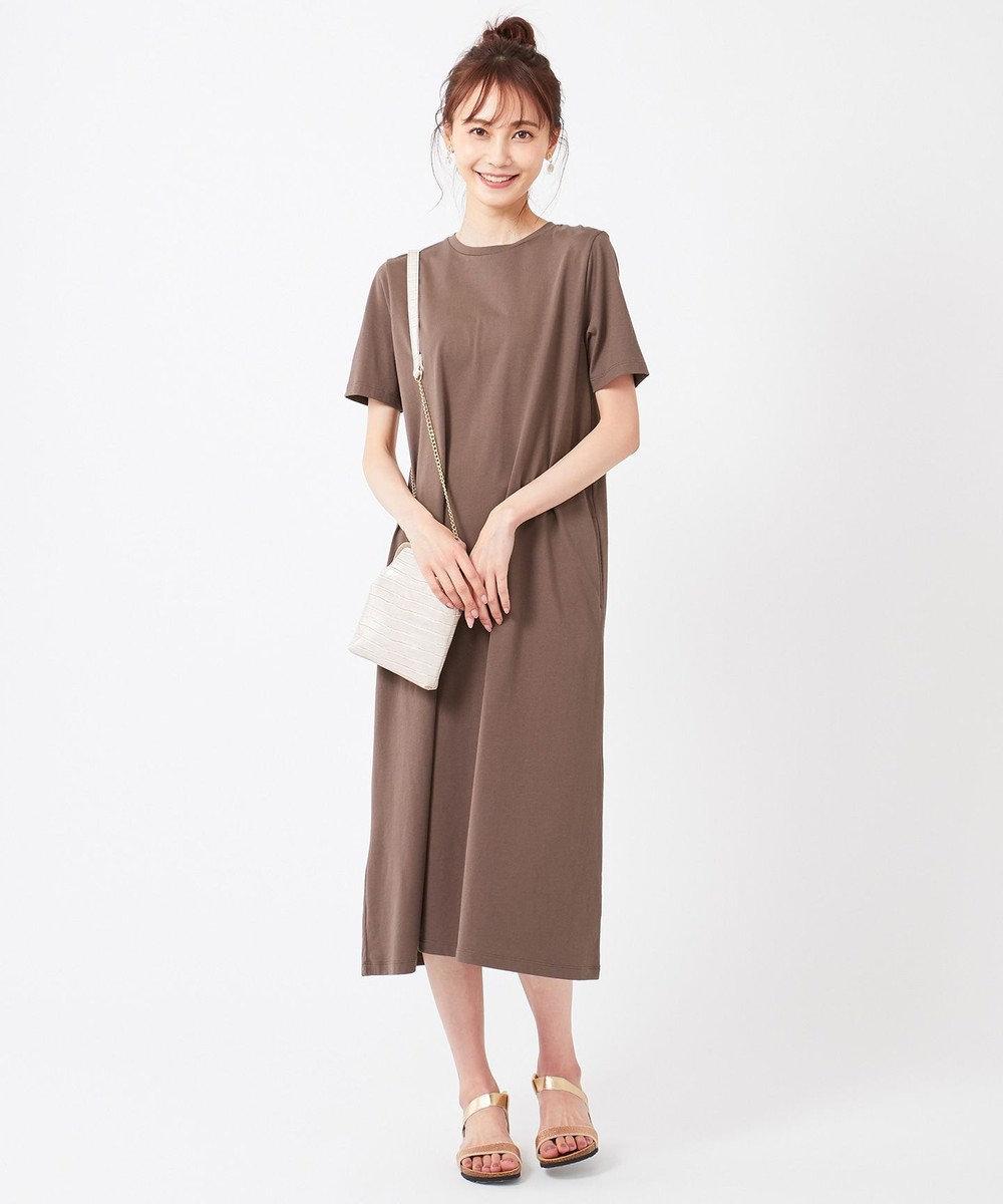 any SiS S 【おうち時間に】Aラインジャージー ワンピース ブラウン