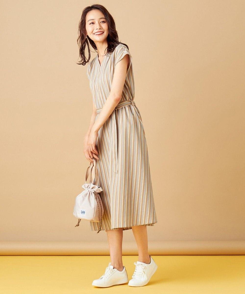 any SiS L 【テレワークにも】ピケストライプ ワンピース キャメルストライプ