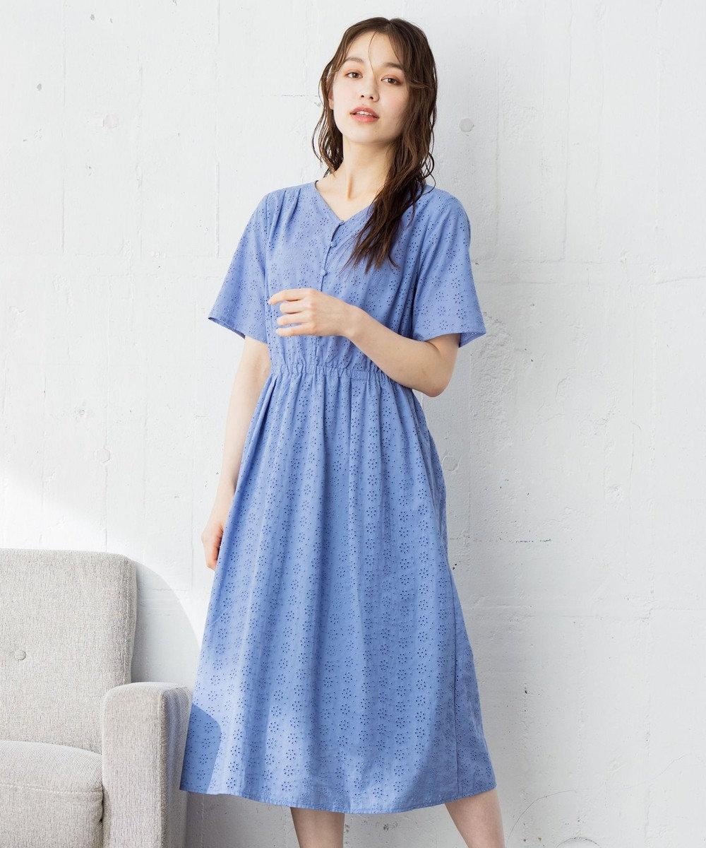 any SiS 【美人百花8月号掲載】洗える フラワーエンブロイダリー ワンピース スモーキーブルー