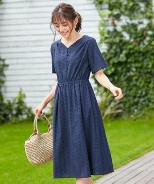 any SiS 【美人百花8月号掲載】洗える フラワーエンブロイダリー ワンピース ネイビー