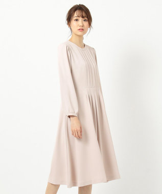 any SiS L 【洗える】レディノーブルタック ワンピース ベージュ系
