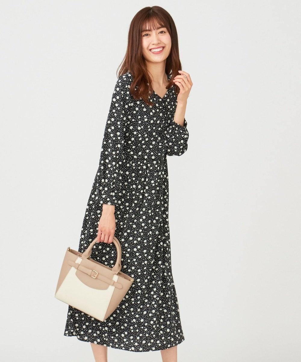any SiS L 【洗える】フラワードットプリント ワンピース ブラック