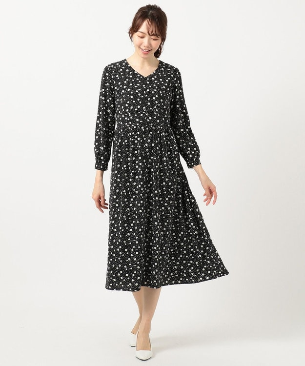 any SiS S 【洗える】フラワードットプリント ワンピース