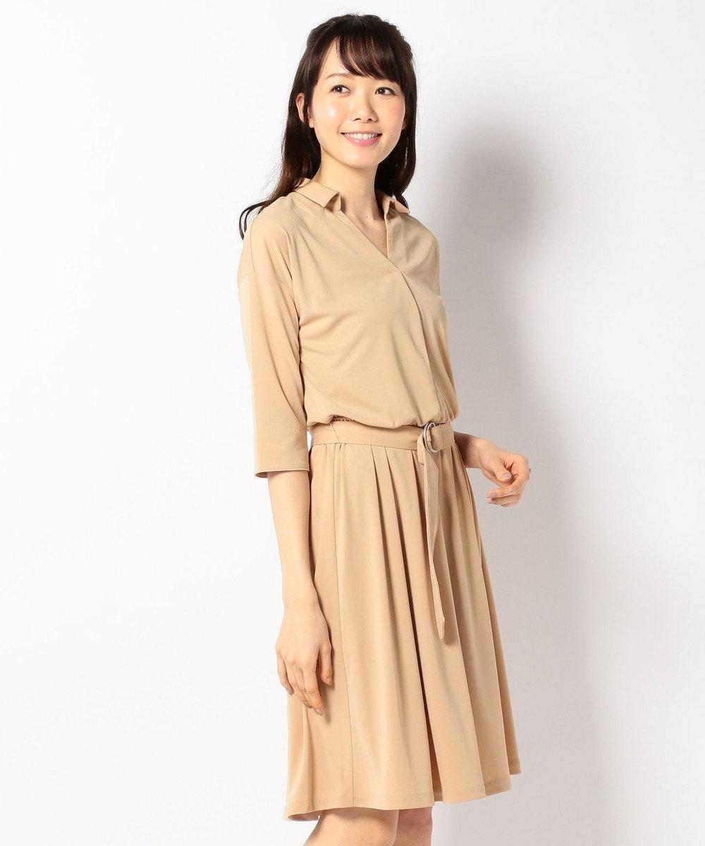 any SiS 【洗える】Vネックスキッパー シャツワンピース ブラウン系