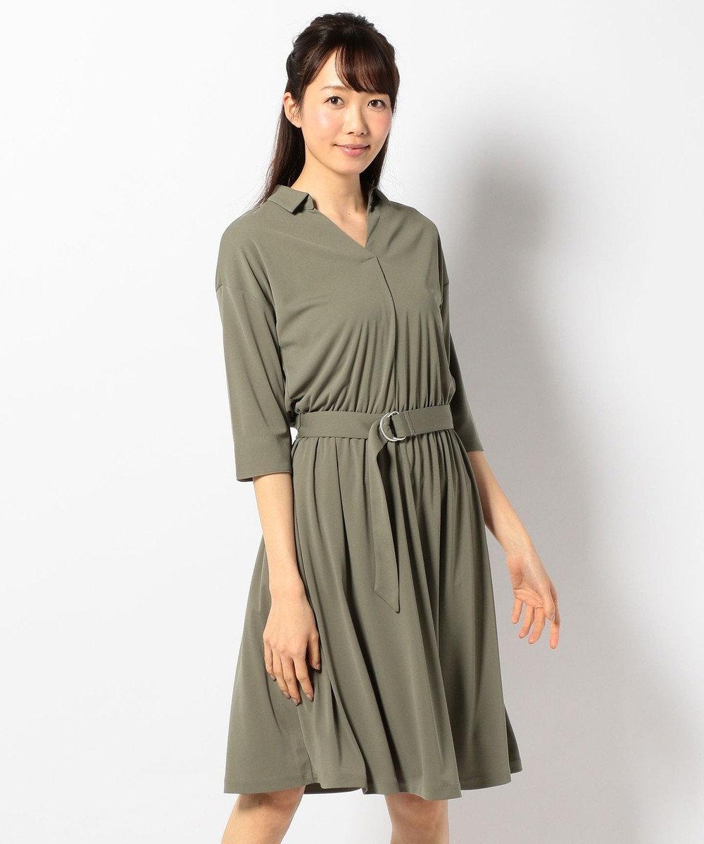 any SiS 【洗える】Vネックスキッパー シャツワンピース カーキ系