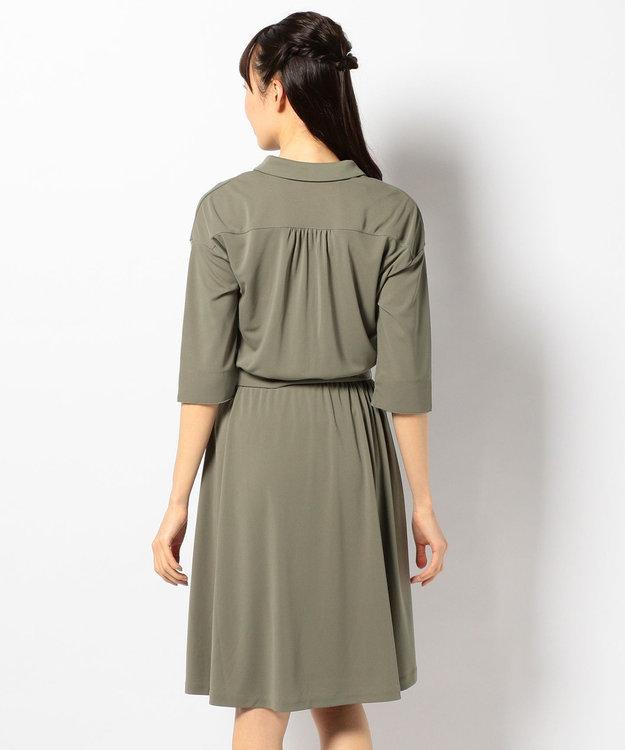any SiS 【洗える】Vネックスキッパー シャツワンピース