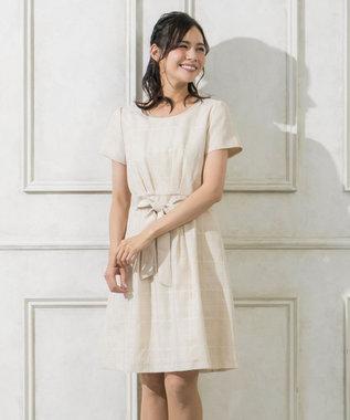 any SiS 【洗える】エレガントシアーチェック ワンピース ベージュ系
