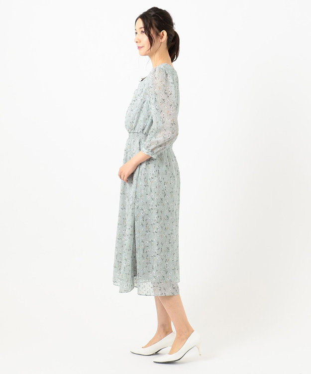 any SiS S 【洗える】シアーボタニカルフラワー ワンピース