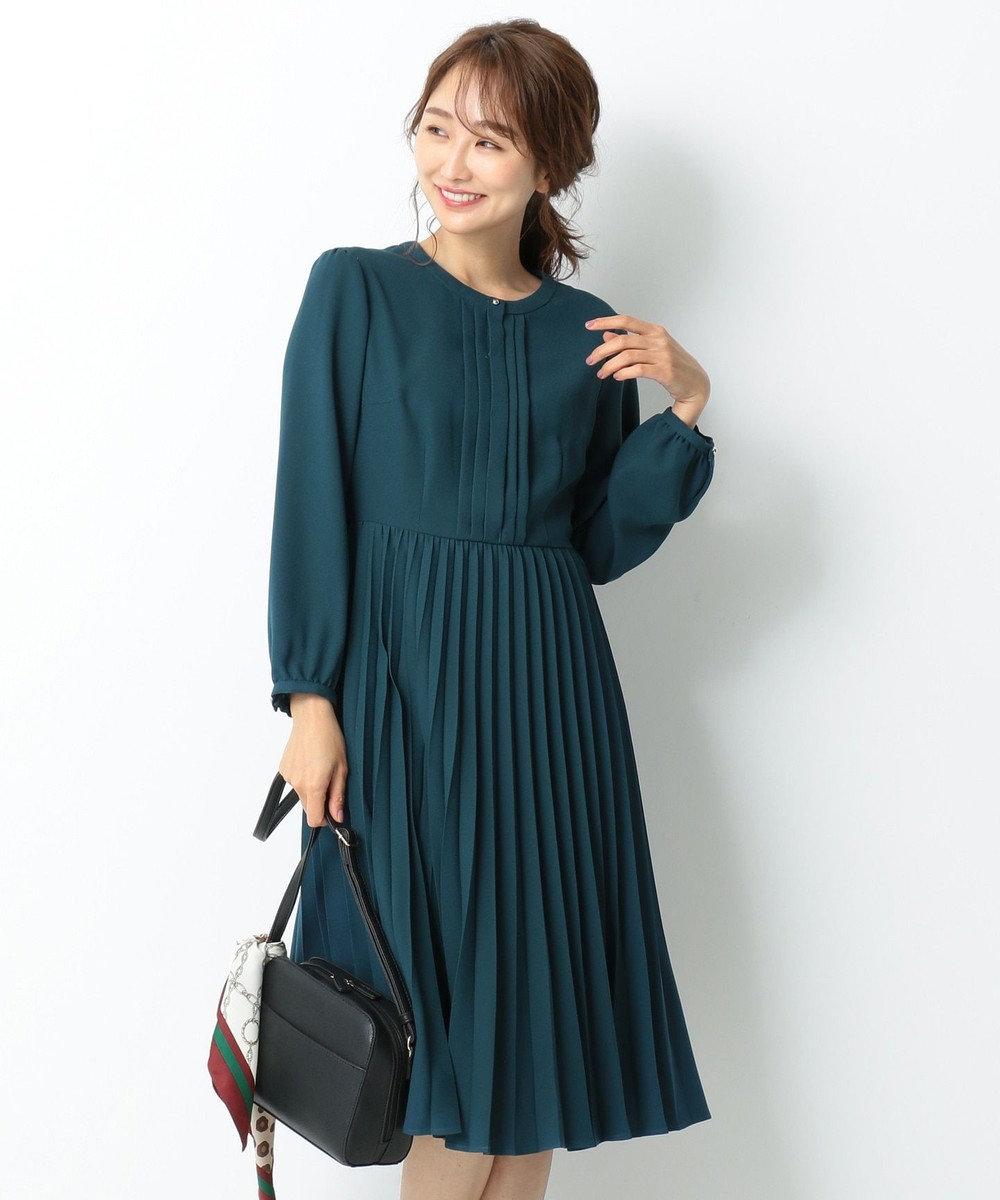 any SiS S 【洗える】ノーブルプリーツ ワンピース ブルーグリーン