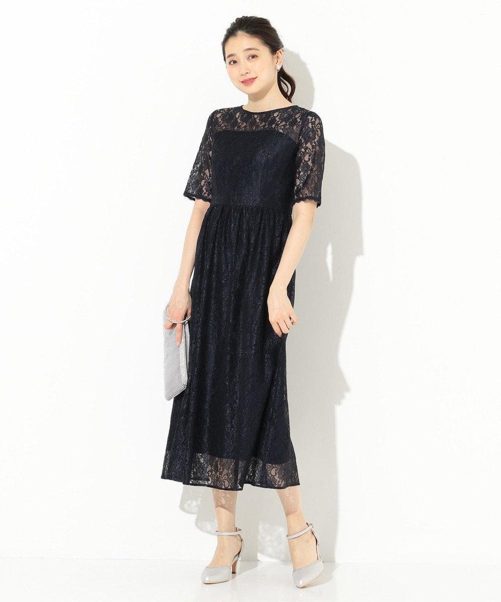 any SiS S 【洗える】エアリーレーシー ドレス ネイビー系
