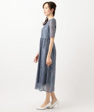 any SiS S 【洗える】エアリーレーシー ドレス ダルブルー系
