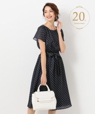 any SiS 【20th Anniversary】フレアスリーブ ミディアム丈 ワンピース ネイビードット