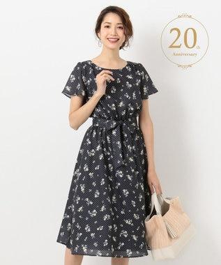 any SiS L 【20th Anniversary】フレアスリーブ ミディアム丈 ワンピース ネイビーフラワー