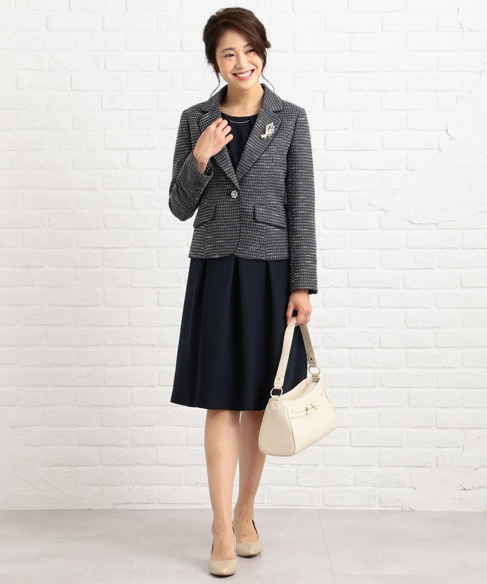 any SiS 【洗える】クラシカルバックサテン ワンピース ネイビー系