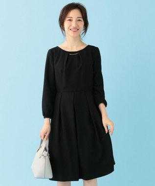 any SiS 【洗える】クラシカルバックサテン ワンピース ブラック系
