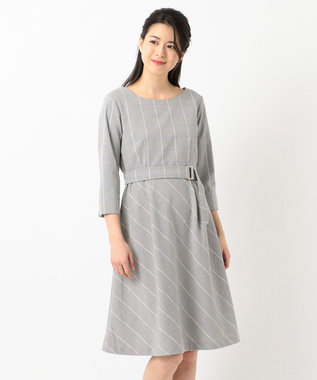any SiS 【洗える】カラーウインドペンフレア ワンピース ライトグレー系
