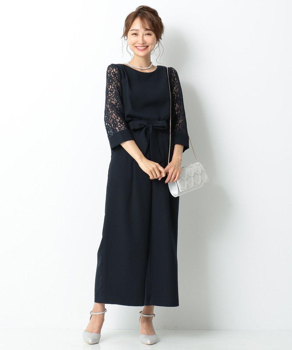 any SiS L 【2SET・洗える】レーシーワイドパンツ セットアップ ネイビー系