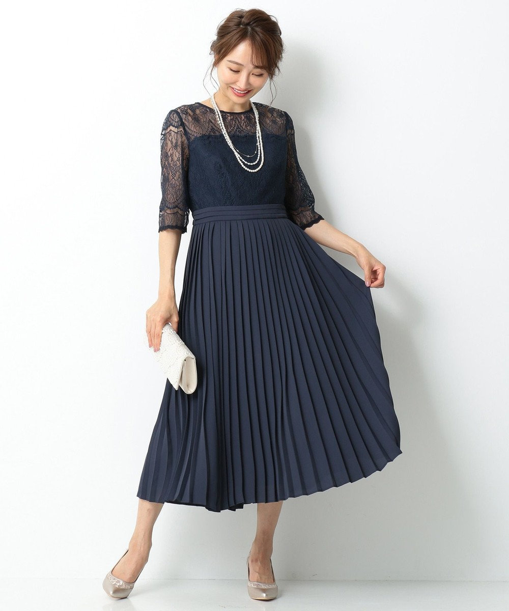 any SiS 【洗える】エアリープリーツコンビ ドレス ネイビー系