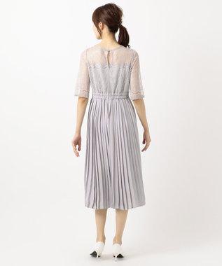 any SiS 【洗える】エアリープリーツコンビ ドレス アイスグレー
