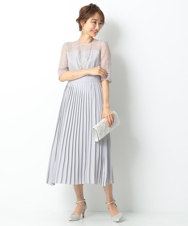 any SiS 【洗える】エアリープリーツコンビ ドレス