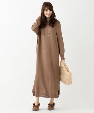 any SiS S 【洗える】ニットフーディ ワンピース モカベージュ