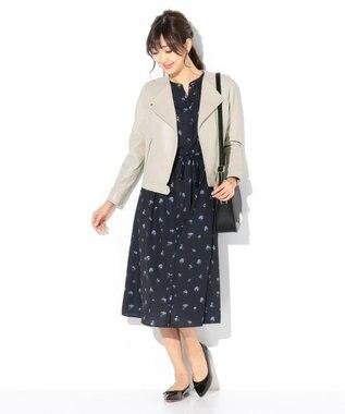 any SiS 【洗える】フラワーロング シャツワンピース ネイビー系
