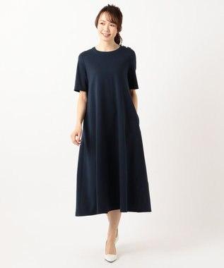 組曲 S 【洗える】ハイツイストポンチ ワンピース ネイビー系