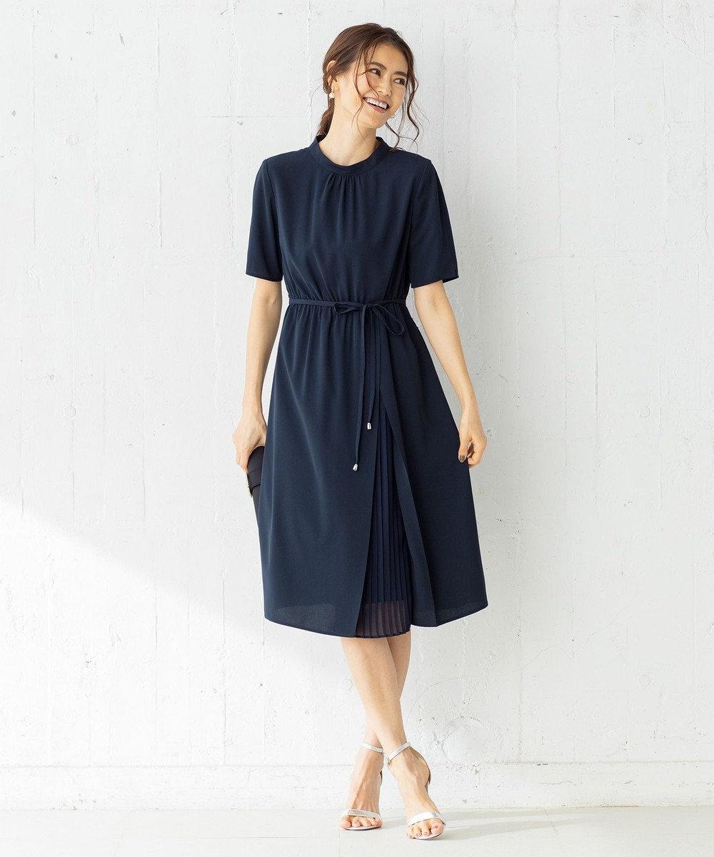 組曲 【WEB限定】サイドプリーツ ワンピース ネイビー系