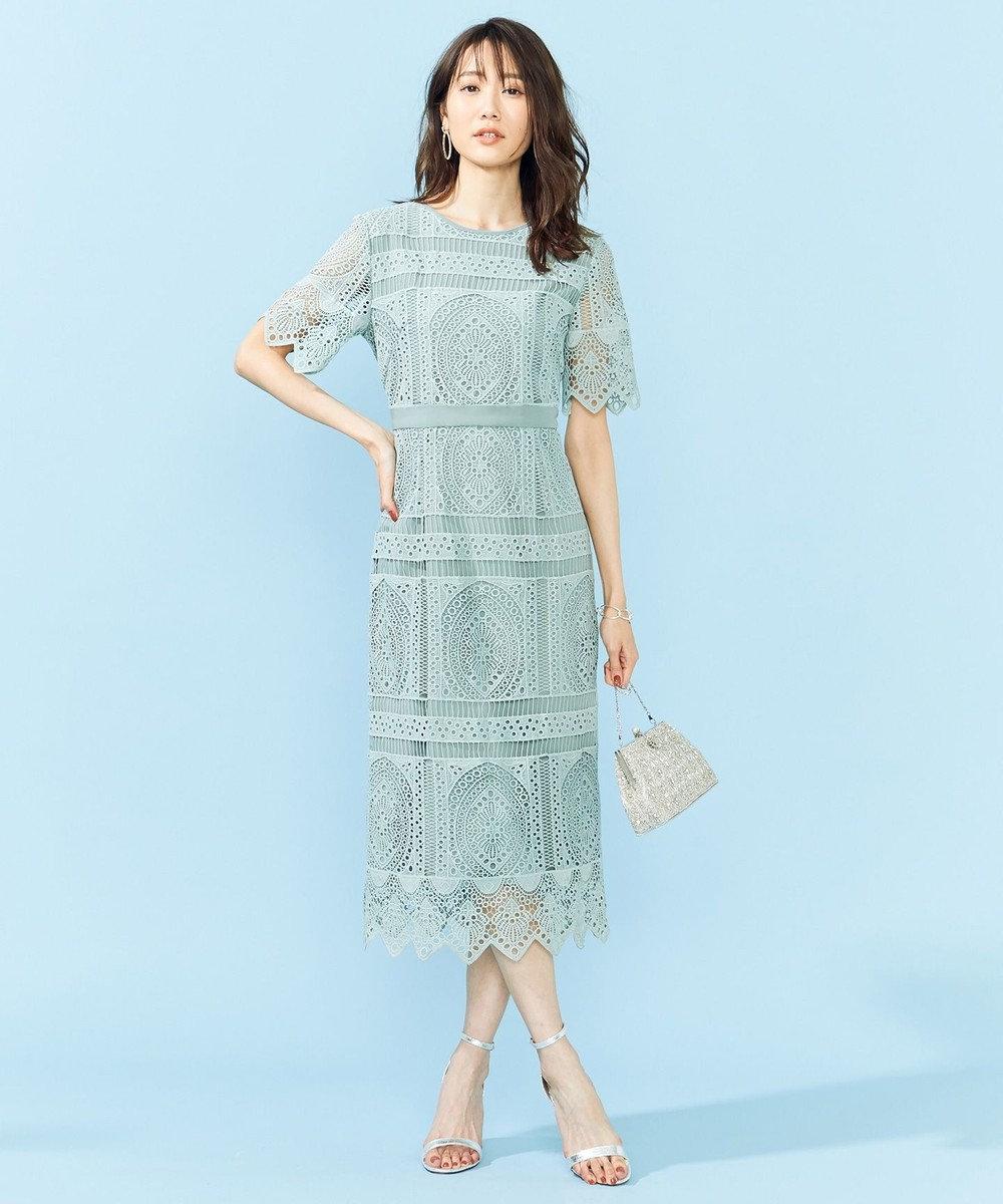 組曲 S 【PRIER】パネル柄レースタイトドレス ライトグリーン系