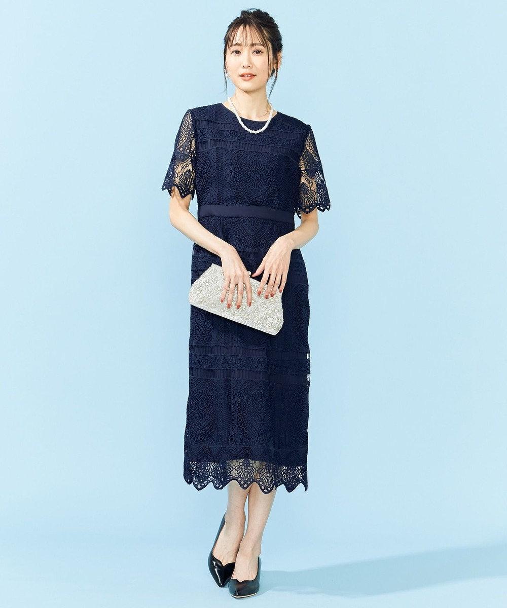 組曲 S 【PRIER】パネル柄レースタイトドレス ネイビー系
