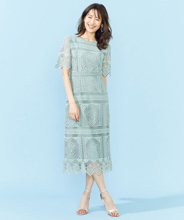 組曲 S 【PRIER】パネル柄レースタイトドレス