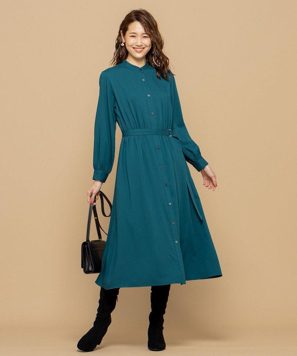 組曲 【洗える】T/R ライトチェック シャツワンピース グリーン系