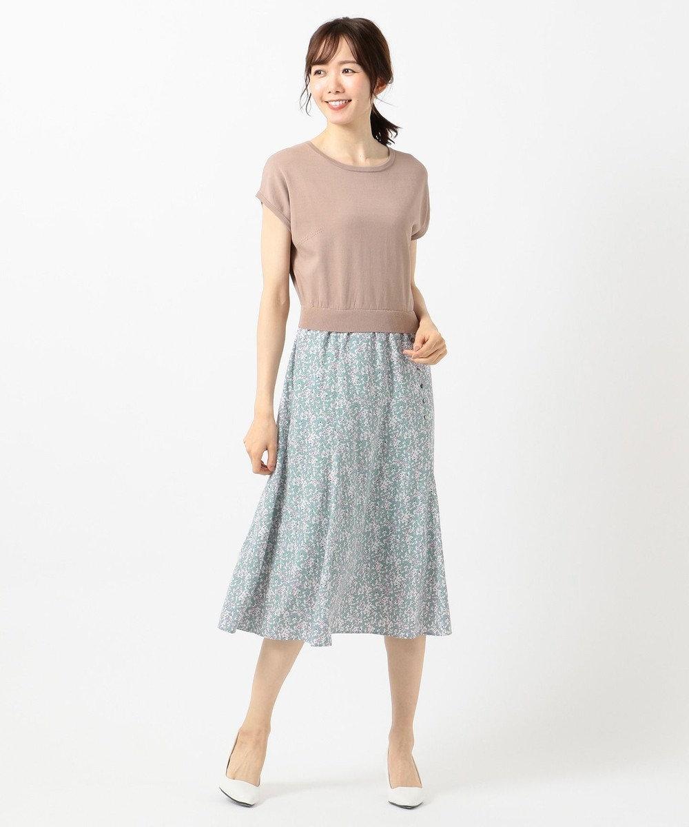 組曲 S 【洗える】プリントドッキング ワンピース ブラウン系