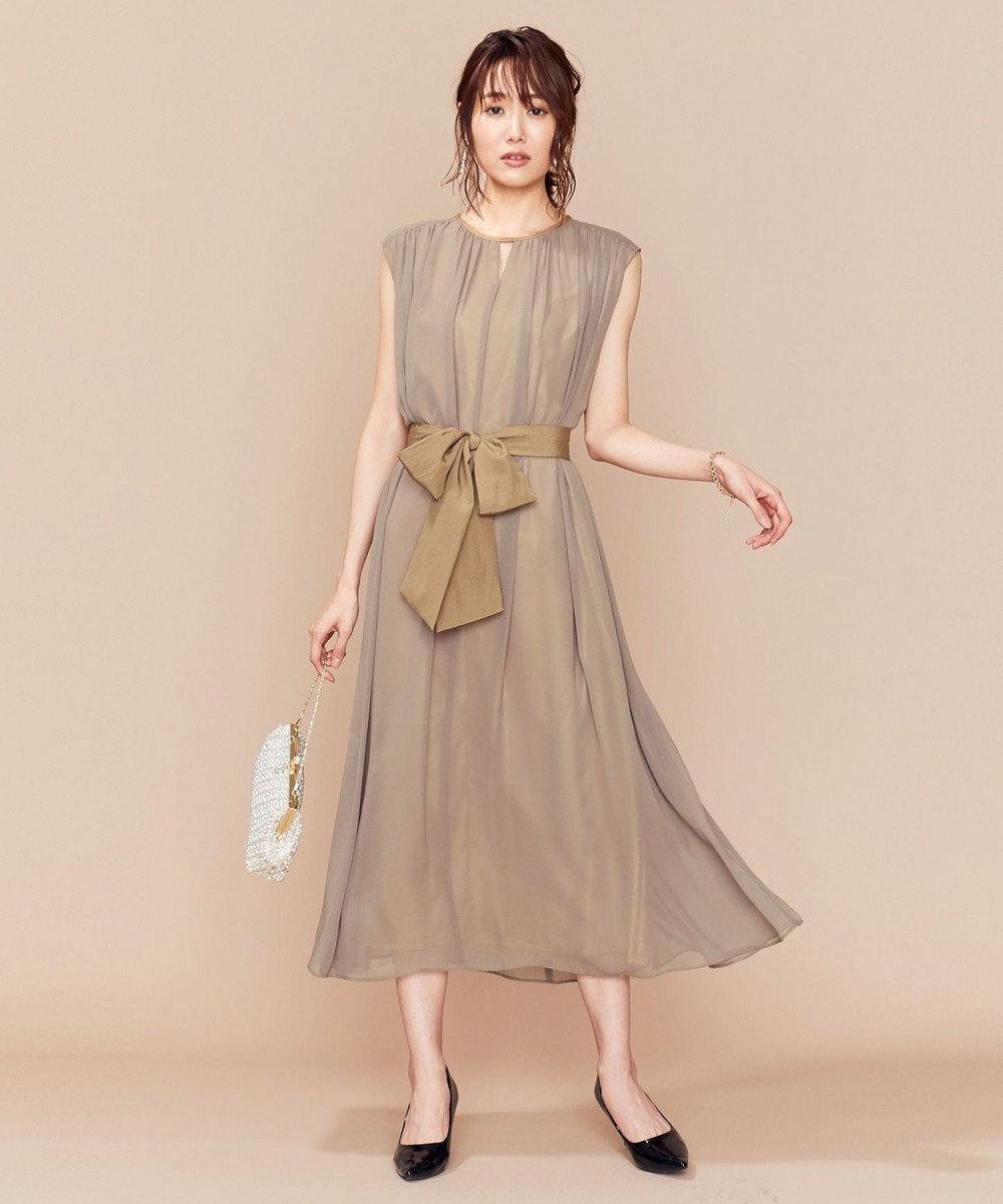 組曲 【PRIER】BIGリボンベルトギャザーロング ドレス ベージュ系