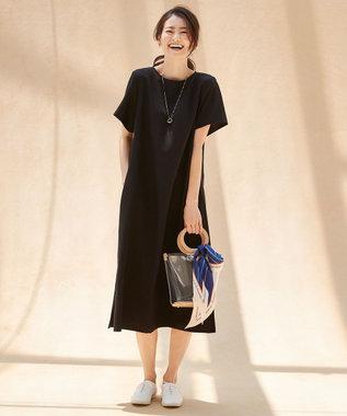 組曲 L 【洗える・シワになりにくい】リネンライクカラードレス ブラック系