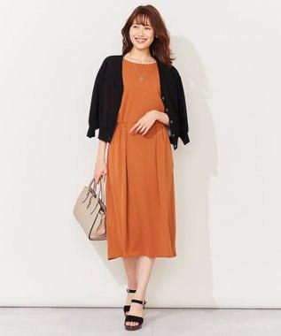 組曲 【洗える】ドライスムース ワンピース オレンジ系