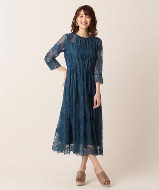組曲 【新色追加!】総レースロング ドレス ブルー系