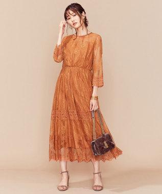 組曲 【新色追加!】総レースロング ドレス オレンジ系
