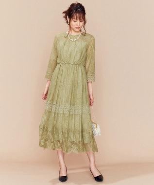 組曲 【新色追加!】総レースロング ドレス カーキ系