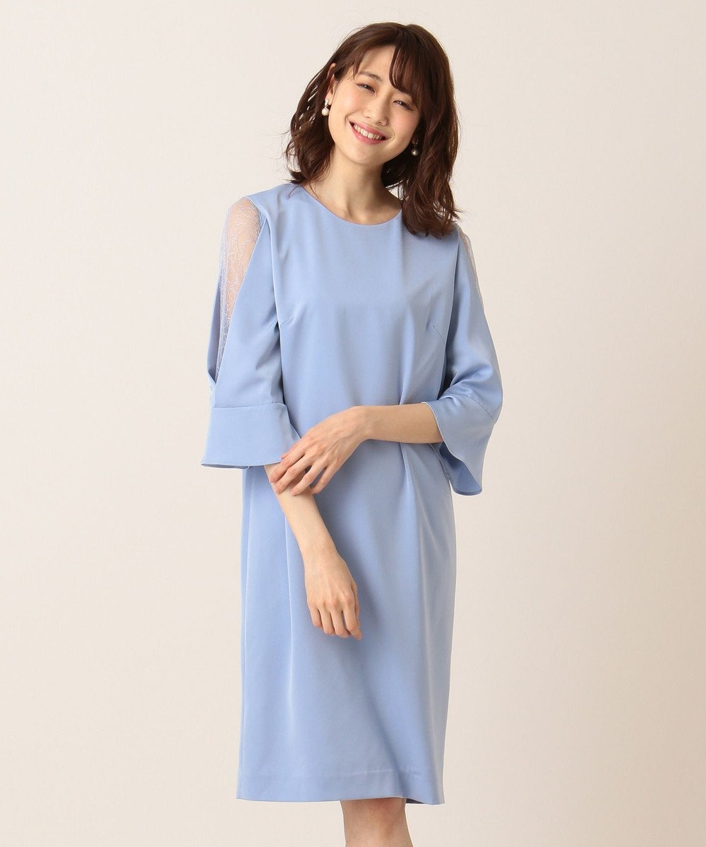 組曲 【PRIER】レース切替フレア袖コクーン ドレス サックスブルー系