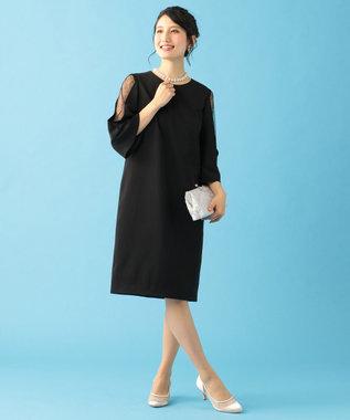 組曲 L 【結婚式やパーティーに】レース切替フレア袖コクーン ドレス ブラック系