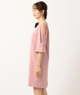 組曲 L 【結婚式やパーティーに】レース切替フレア袖コクーン ドレス ピンク系