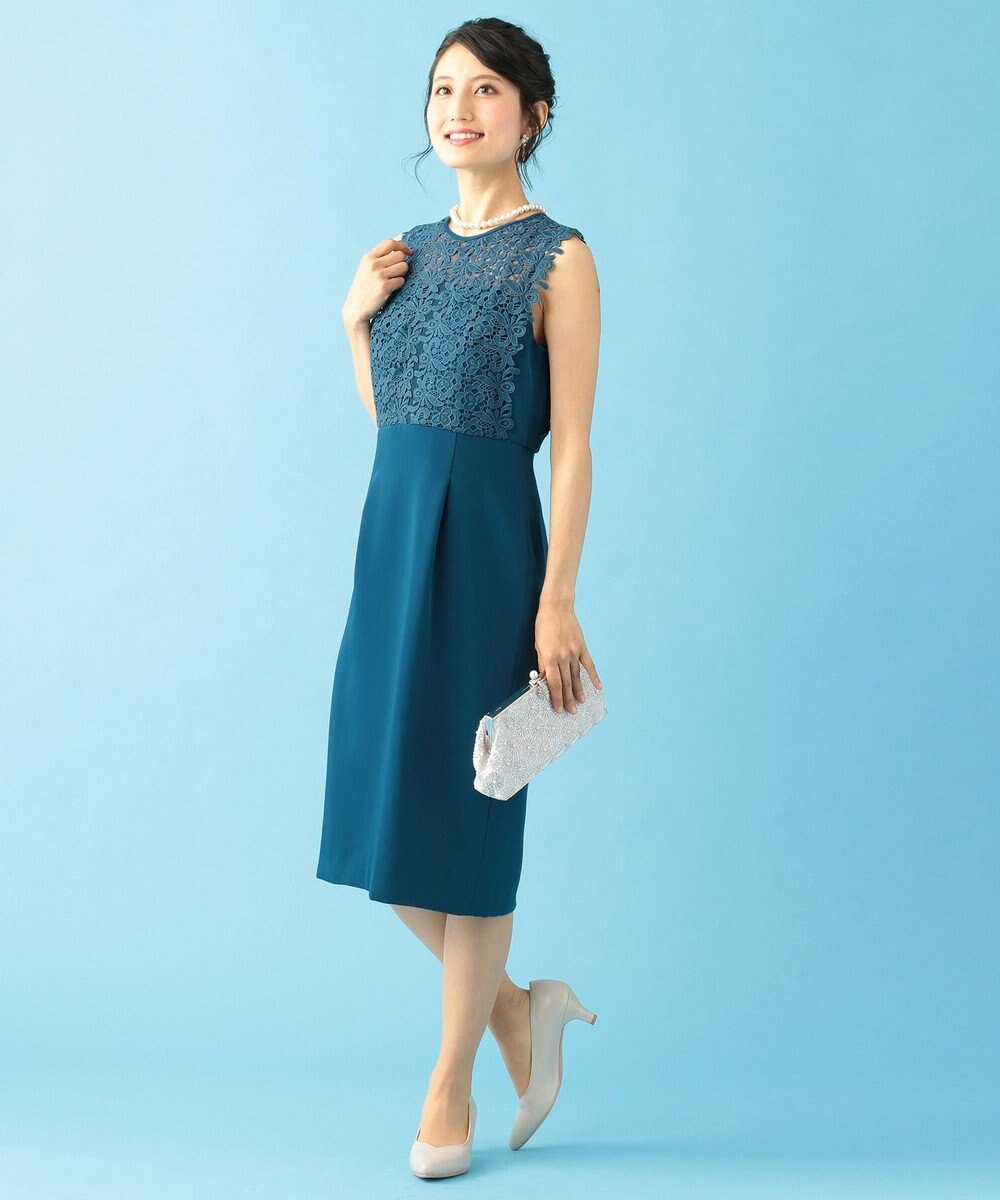 組曲 S 【結婚式やパーティーに】レース切替ストレート ドレス ダルブルー系