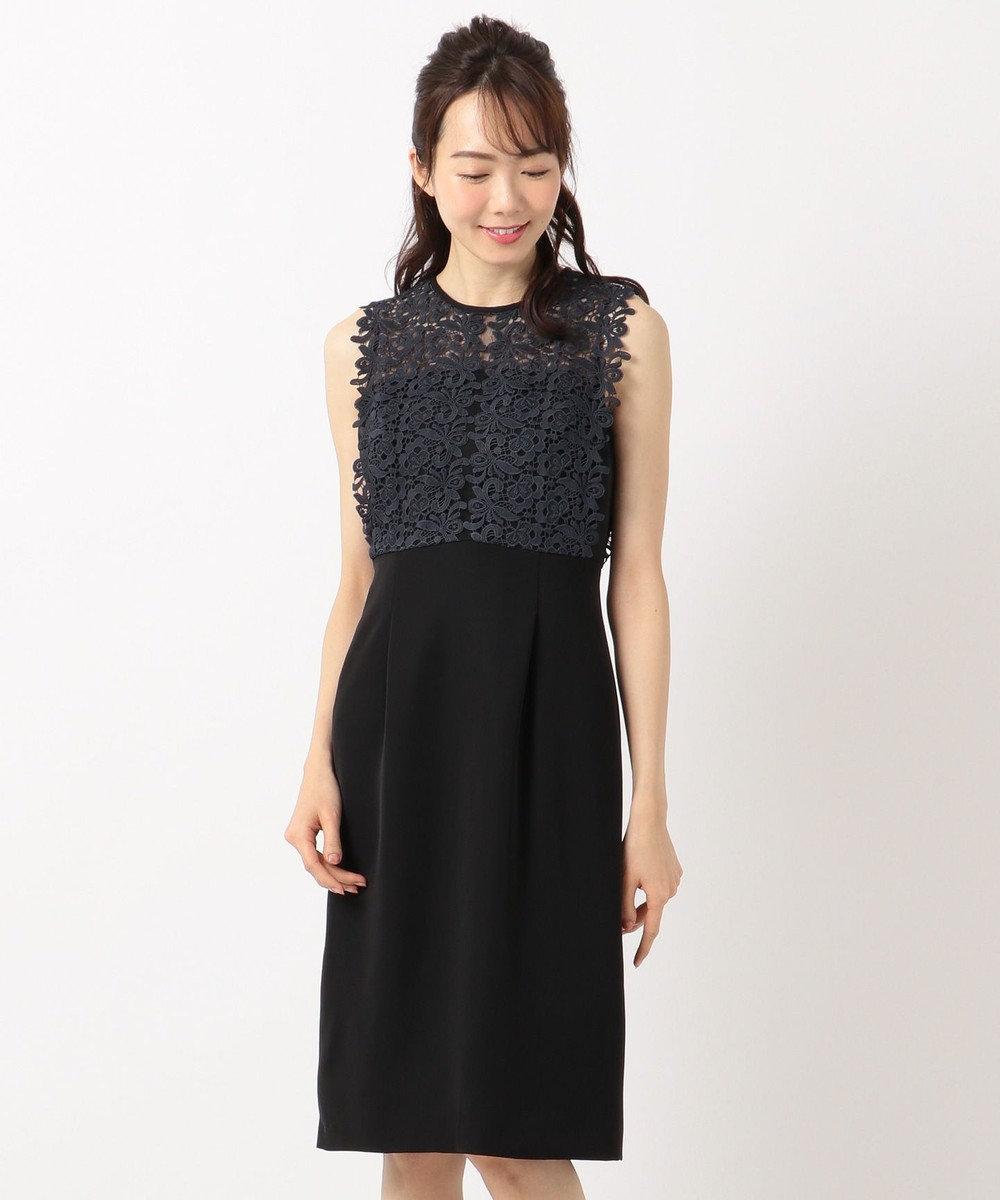 組曲 S 【結婚式やパーティーに】レース切替ストレート ドレス ブラック系