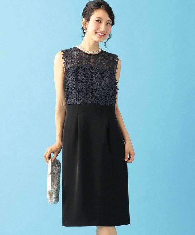 組曲 S 【結婚式やパーティーに】レース切替ストレート ドレス