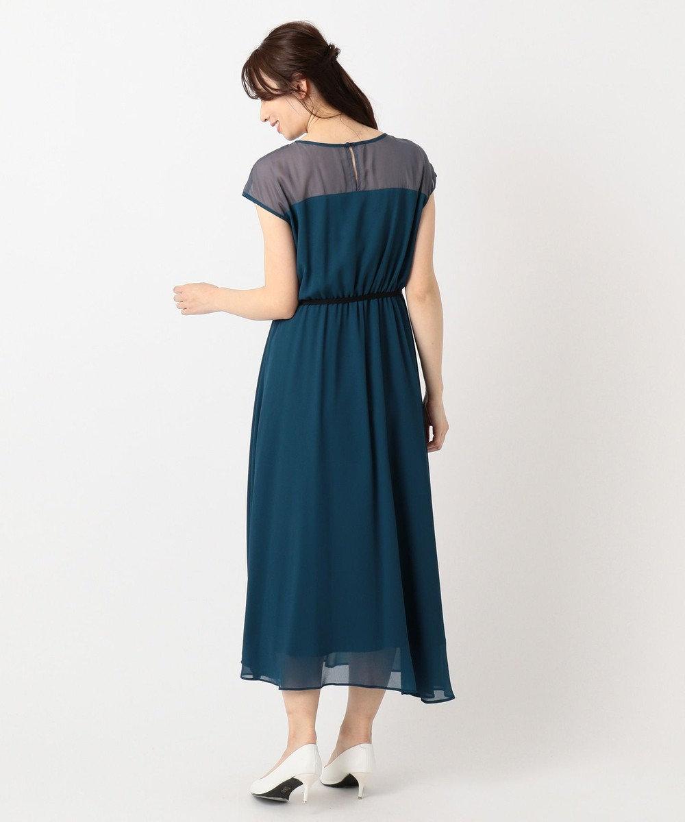 組曲 S 【結婚式やパーティーに】肩レースウエストゴム ドレス ブルー系
