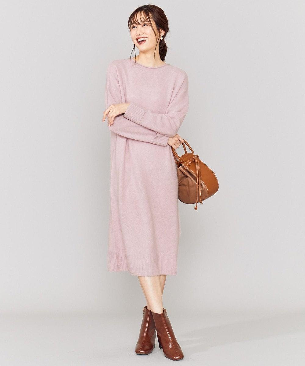 組曲 L 【Oggi1月号掲載】カラーラクーンニット ワンピース ピンク系